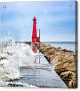 Muskegon Channel South Pier Lighthouse and Wave, Lake Michigan Acrylic Print