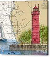 Muskegon Lighthouse Mi Nautical Chart Map Art Cathy Peek Acrylic Print