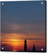 Muskegon Lighthouse Silhouetted At Sunset With A Sailboat In The Acrylic Print