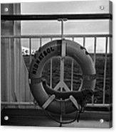 Mv Midnatsol Lifebelt On Board Hurtigruten Passenger Ship Sailing Through Fjords During Winter Acrylic Print