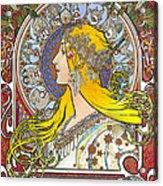 My Acrylic Painting As An Interpretation Of The Famous Artwork Of Alphonse Mucha - Zodiac - Acrylic Print