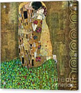 My Acrylic Painting As An Interpretation Of The Famous Artwork Of Gustav Klimt The Kiss - Yakubovich Acrylic Print