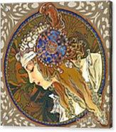 My Acrylic Painting As Interpretation Of Alphonse Mucha- Byzantine Head. The Blonde. Diagonal Frame. Acrylic Print by Elena Yakubovich