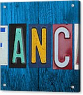 My Fancave License Plate Letter Vintage Phrase Artwork On Blue Wood Acrylic Print