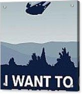 My I Want To Believe Minimal Poster-millennium Falcon Acrylic Print