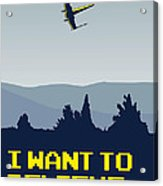 My I Want To Believe Minimal Poster- Xwing Acrylic Print by Chungkong Art