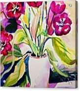 My Morning Tulips Opened Sold Original Acrylic Print