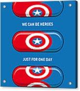 My Superhero Pills - Captain America Acrylic Print