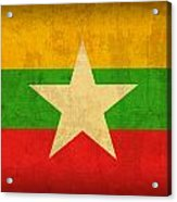 Myanmar Burma Flag Vintage Distressed Finish Acrylic Print