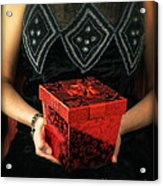 Mysterious Woman With Red Box Acrylic Print