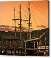 Mystic Seaport Sunset-joseph Conrad Tallship 1882 Acrylic Print