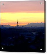 Mystical Munich Skyline With Alps During Sunset Acrylic Print