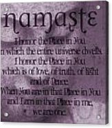 Namaste Pink Acrylic Print