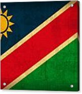Namibia Flag Vintage Distressed Finish Acrylic Print