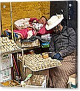 Nap Time For Child And Street Shopkeeper In Lhasa-tibet   Acrylic Print