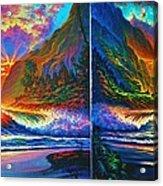 Napali Cliff's Sunset - Diptych Acrylic Print by Joseph   Ruff