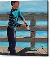 Naples Boy Fishing Acrylic Print
