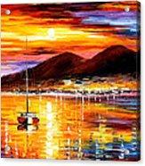 Naples-sunset Above Vesuvius - Palette Knife Oil Painting On Canvas By Leonid Afremov Acrylic Print