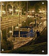 Narbonne France Canal De La Robine At Night Dsc01657  Acrylic Print