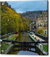 Narrow Boat Heading Up The Canal In The Fall Acrylic Print