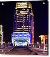 Nashville Sight Night Skyline Pinnacle Panorama Color Acrylic Print by Jon Holiday