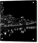 Nashville Skyline At Night In Black And White Acrylic Print by Dan Sproul