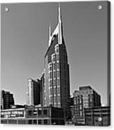 Nashville Tennessee Skyline Black And White Acrylic Print by Dan Sproul