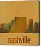 Nashville Tennessee Skyline Watercolor On Parchment Acrylic Print