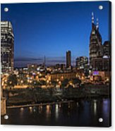 Nashville Tennessee With Pedestrian Bridge  Acrylic Print by John McGraw