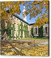 Nassau Hall With Fall Foliage Acrylic Print by George Oze