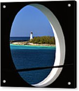 Nassau Lighthouse Porthole View Acrylic Print