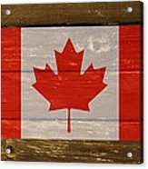 Canada National Flag On Wood Acrylic Print