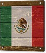 Mexico National Flag On Wood Acrylic Print