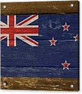 New Zealand National Flag On Wood Acrylic Print