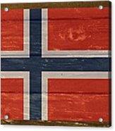 Norway National Flag On Wood Acrylic Print