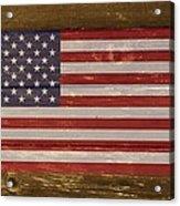 United States Of America National Flag On Wood Acrylic Print