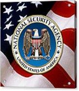 National Security Agency - N S A Emblem Emblem Over American Flag Acrylic Print