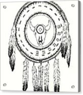 Native American Ceremonial Shield Number 2 Black And White Acrylic Print