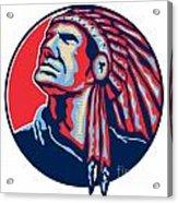 Native American Indian Chief Retro Acrylic Print by Aloysius Patrimonio