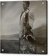 Native American Two Woman Bw Acrylic Print