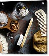 Natural Bath Accesories On Gray Acrylic Print