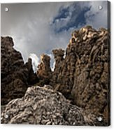 A Stunning Rock Wall Becomes A Wild Nature Sculpture In North Coast Of Minorca Europe Acrylic Print