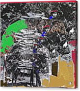 Navajo With His Donkey Bearing Wood Collage Inter-tribal Indian Rodeo Gallup Nm 1969-2012 Acrylic Print