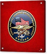 Naval Special Warfare Development Group - D E V G R U - Emblem On Red Acrylic Print