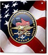 Naval Special Warfare Development Group - D E V G R U - Emblem Over U. S. Flag Acrylic Print