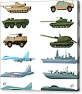 Naval Vehicles, Airplanes And Different Acrylic Print