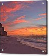 Navarre Pier And Navarre Beach Skyline At Twilight Acrylic Print
