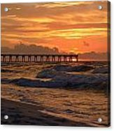 Navarre Pier At Sunrise With Waves Acrylic Print