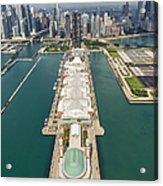 Navy Pier Chicago Aerial Acrylic Print by Adam Romanowicz