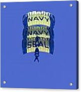 Navy Seal Leap Frogs 3 Vertical Parachutes Acrylic Print